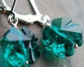 Emerald Green Shamrock Clover Earrings, Swarovski Crystal, Sterling Silver Leverbacks, St. Patricks Day