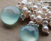 Earrings Aqua Chalcedony Ivory White Freshwater Pearls Wire Wrapped on Sterling Silver Lever Backs, Ocean Princess