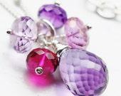 Purple Amethyst Necklace, Pink Ruby Quartz, Sterling Silver Wire Wrapped Gemstone Cluster, February Birthstone, Hydrangea