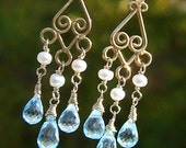 SALE, Marie Antoinette Sparkly Blue Topaz Briolette and Freshwater Pearl Vermeil Chandelier Earrings