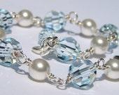 Handmade Crystal Pearl Bracelet, Sterling Silver, Multi Aqua Swarovski, White Pearls, Briolette Accent