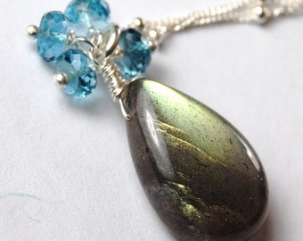 Luxe Labradorite and London Blue Topaz Necklace, Wire Wrapped Gemstones on Sterling Silver, Adjustable, Winter Moon