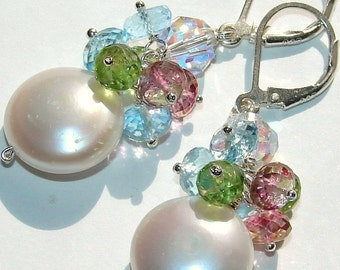Coin Pearl and Gemstone Cluster Earrings, Blue Topaz, Pink Quartz, Peridot, Sterling Silver Leverbacks