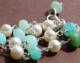 Peruvian Opal and Pearl Handmade Chain Bracelet, Sterling Silver, Wire Wrapped, Adjustable, Rare, Sandpiper
