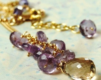 Necklace, Amethyst, Champagne Quartz Gemstones on 14K Gold Filled Chain, Wire Wrapped, Twinkle Twinkle hamptonjewels