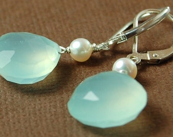 Soft Whisper Earrings, Aqua Chalcedony and Ivory Freshwater Pearls on Sterling Silver Leverbacks