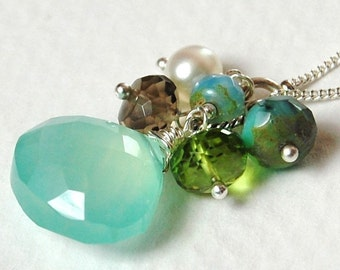 Aqua Chalcedony Necklace on Sterling Silver, Wire Wrap, Apple Green Peridot, Pearl, Brown Smoky Quartz, Inspire