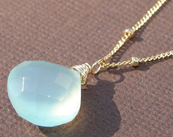 Necklace Aqua Chalcedony, Gold, 14K Gold Filled Chain, Adjustable, Wire Wrapped, GLOW, Bridal, Bridesmaids, Weddings