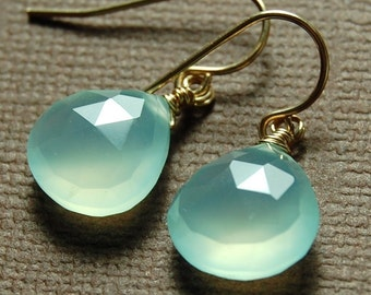 Gold Chalcedony Earrings, Aqua Briolette Gemstones Wire Wrapped 14K Gold Fill Ear Wires