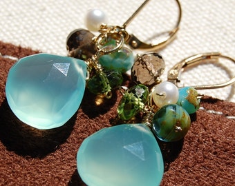 Aqua Chalcedony Earrings, 14K Gold Filled, Green Peridot, Smoky Quartz Wire Wrapped, Pearl Leverbacks