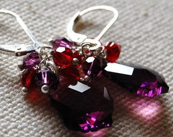 Amethyst Swarovski Earrings, Red Dangles, Crystal and Sterling Silver Leverbacks, Wire Wrapped