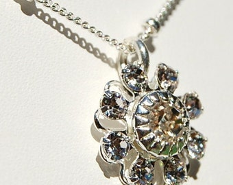 Sabrina Petite Fleur Necklace, Swarovski Crystal Filigree Flower on Sterling Silver