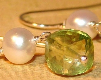 Leaf Green Peridot Quartz Cube and Ivory Freshwater Pearl Earrings Wire Wrapped Links of Sterling Silver