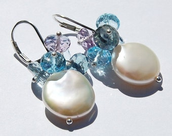 Earrings, Coin Pearl Blue Topaz Amethyst, Wire Wrapped on Sterling Silver Lever Backs Fleurs Earrings