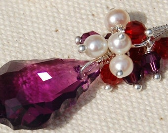 Amethyst Purple, Ruby Red Necklace, Swarovski Crystal, Freshwater Pearls, Sterling Silver Wire Wrapped, Canterbury