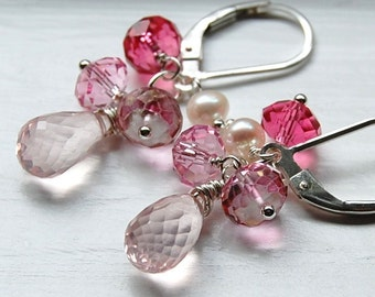 Earrings Rose Quartz, Pink Quartz, Sterling Silver Leverback, Gemstone Cluster, Ballerina Girl, Hamptonjewels