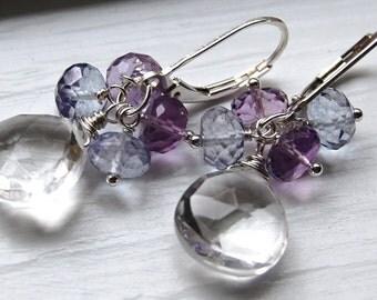 Ear Wires, Earrings Amethyst Blue Quartz Sterling Silver Crystal, Wire Wrapped Gemstone Earrings, Parasol, Hamptonjewels