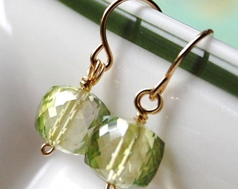Green Earrings, Peridot Quartz Cubes, 14K Gold Filled Ear Wires, Leaf, Pale Sea Mist Earrings