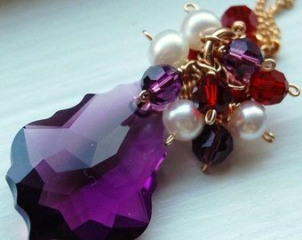 Canterbury Necklace in Majesty, Pearls and Swarovski Red, Purple Amethyst Crystals, 14K Gold Fill