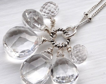 Quartz Necklace, Wire Wrapped Briolettes on Sterling Silver, Icicles, A Frozen Gemstone Trinket Necklace hamptonjewels