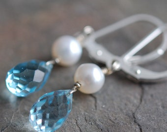 Light Blue Topaz and Ivory Freshwater Pearl Earrings Wire Wrapped on Sterling Silver Leverbacks
