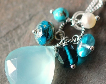 Aqua Chalcedony Necklace with Teal Quartz, Apatite, Turquoise, Pearl Wire Wrapped on Sterling Silver, Adjustable, Antigua