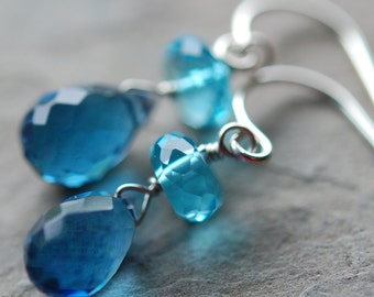 Blue Aqua Earrings, Swiss and Sapphire Quartz Gemstones, Wire Wrapped, Sterling Silver Ear Wires, Bridesmaid