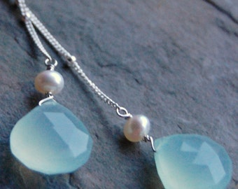 Aqua Chalcedony Necklace White Freshwater Pearls, Sterling Silver Satellite Chain, Wire Wrapped, Soft Whisper