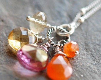 Orange, Pink, Yellow Necklace, Sterling Silver, Sunset Beach, Gemstone Trinket Necklace of Quartz, Carnelian, Citrine Wire Wrapped