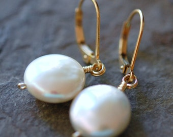 White Coin Pearl Earrings, Wire Wrapped, 14K Gold Filled Lever Backs, Natural Freshwater, hamptonjewels