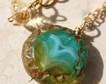 Necklace, Aqua Turquoise Blue Green Glass on 14K Gold Fill Flat Cable Chain, Czech Picasso Swirled Disc Coin, Wire Wrap, Atlantis Found