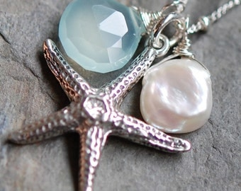 Starfish Necklace, Sterling Silver Sea Star, Aqua Chalcedony, Keshi Pearl, Large Charm, Ocean Tranquility hamptonjewels
