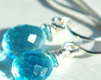 Earrings, Swiss Aqua Blue Quartz, Wire Wrapped Gemstones on Sterling Silver French Ear Wires, Petite Drops