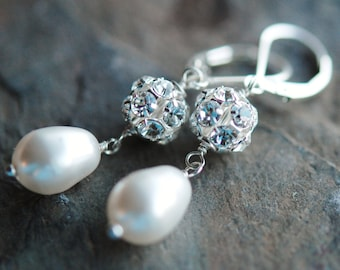 Pearl, Crystal Bridal Earrings, Swarovski Rhinestone, White Glass Drops, Sterling Silver Leverbacks, Belle of the Ball