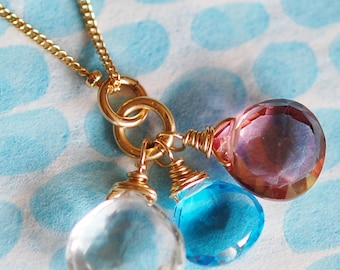 Swiss Blue Topaz, Pink Quartz Triplet Gemstone Necklace, 14K Gold Fill, Birthstone, Bridesmaid, Wire Wrapped
