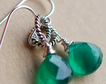 Emerald Green Onyx Earrings, May Birthstone, Wire Wrapped Briolettes on Bali Sterling Cable Links, Ear Wire Hooks