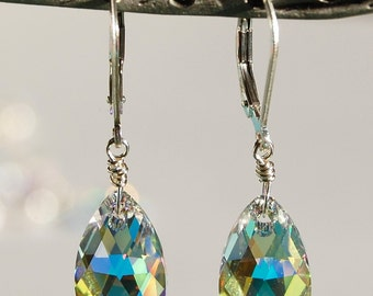Bridal Earrings, Dramatic Swarovski Crystal AB Teardrop Briolettes, Wire Wrapped, Sterling Silver, Leverback, Weddings