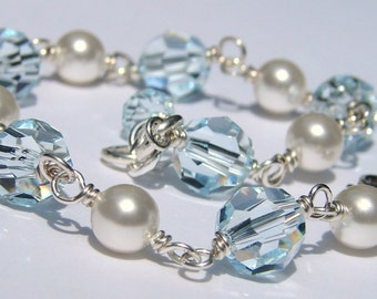 Handmade Crystal Pearl Bracelet, Sterling Silver, Aqua Swarovski, White Pearls, Design Your Own, Bridal, Bridesmaids, Bella