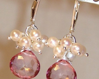 Sparkly Pink Quartz and Dancing Freshwater Pearls Earrings on Sterling Silver