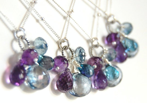 Handmade Bridesmaid Necklaces, Gemstones, Wire Wrapped Briolettes, Custom Design, Blue Purple Sterling Silver