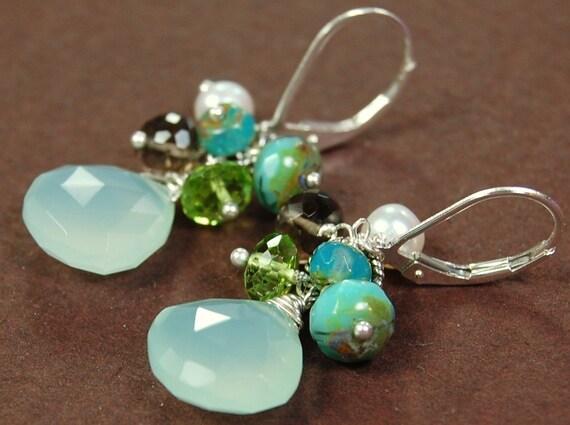 Aqua Chalcedony Earrings Sterling Silver Leverback Multi Gem, Apple Green Peridot, Pearl, Smoky Quartz, Czech Glass, Inspire