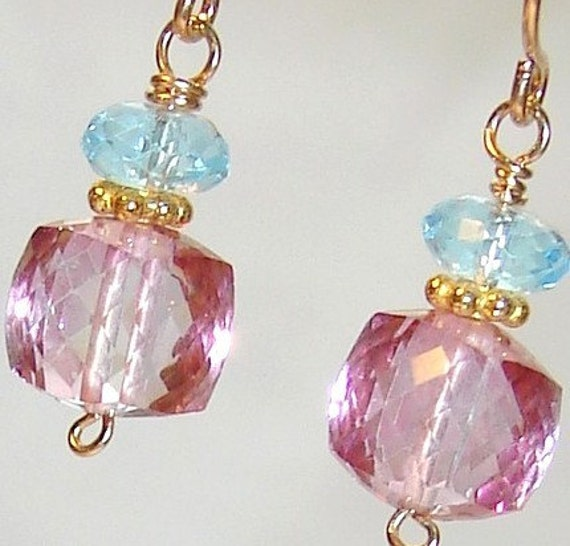 Priory Earrings, Pink Quartz Faceted Cubes and Sky Blue Topaz on 14K Gold Filled Wires