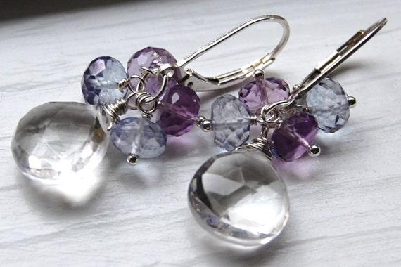 Earrings Amethyst Blue Quartz Sterling Silver Crystal, Wire Wrapped Gemstone Earrings, Parasol, Hamptonjewels
