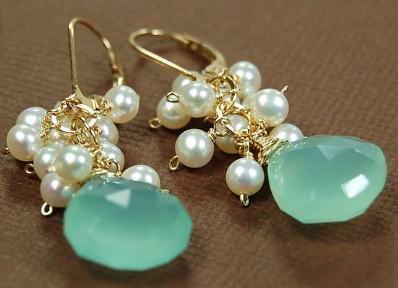 Ocean Princess Earrings of Fine Aqua Chalcedony Drops, Ivory Pearls Wire Wrapped on 14K Gold Filled Leverbacks