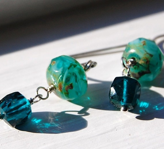 FOR EMILY, Teal Earrings, Quartz and Czech Glass Sterling Silver Wire Wrapped Sweet Treats, Pretty, Petite, Leverbacks