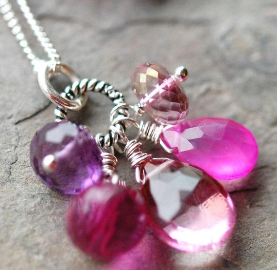Pink Magenta Purple Gemstone Necklace, Briolettes, Sterling Silver, Julianne's Garden, Mother's Day
