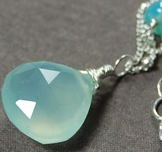 Aqua Chalcedony Necklace, Sterling Silver, Glowing Wire Wrapped Briolette Drop, Satellite Chain, Bridesmaids, Weddings