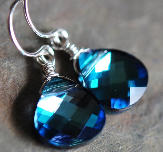 Bridesmaid Earrings, Blue, Cobalt, Sapphire, Peacock Swarovski Crystal Wire Wrapped on Sterling Silver French Ear Wires