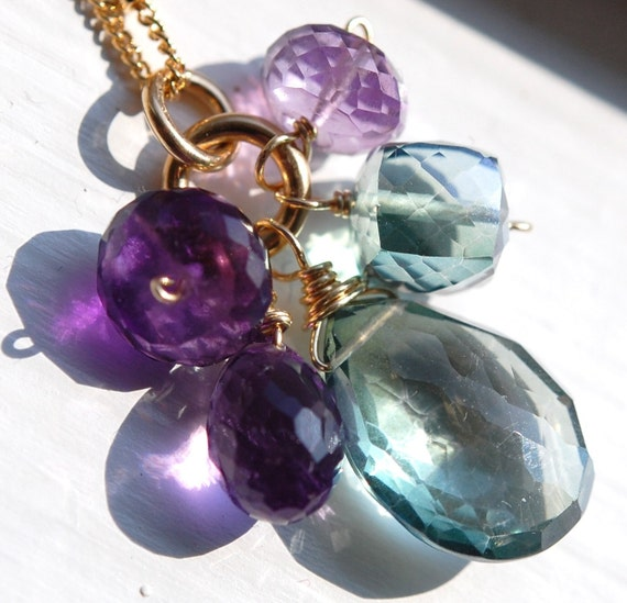 Purple and Green Necklace, Amethyst and Quartz Wire Wrapped on 14K Gold Fill, Gemstone Trinket Necklace, Blooming Violet
