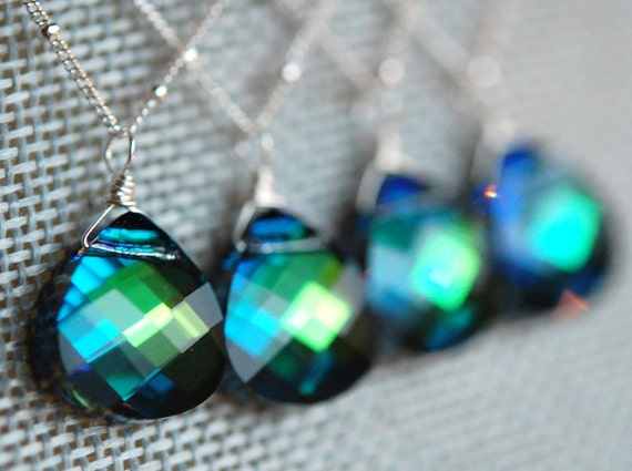 Set of 4 Peacock Bridesmaid Necklaces, Blue Green Swarovski Crystal Briolette 15 mm and Sterling Silver Chain
